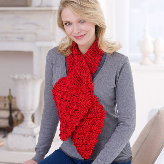 Red Heart Crochet Keyhole Scarf in color