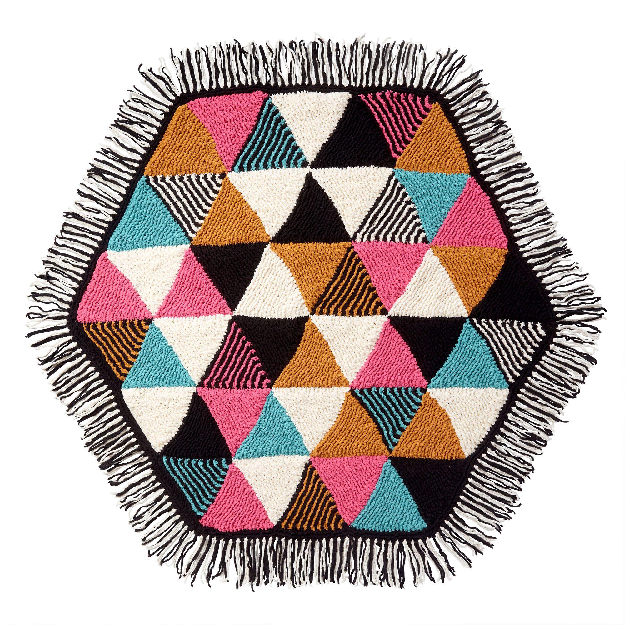 Free Knit Bernat Triangle Hexagon Blanket