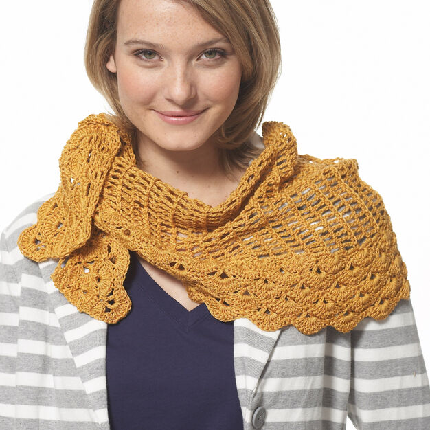 Patons Grace Staggered Shells Crochet Wrap in color
