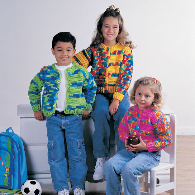 Red Heart Back To School Cardigans, 2 yrs in color