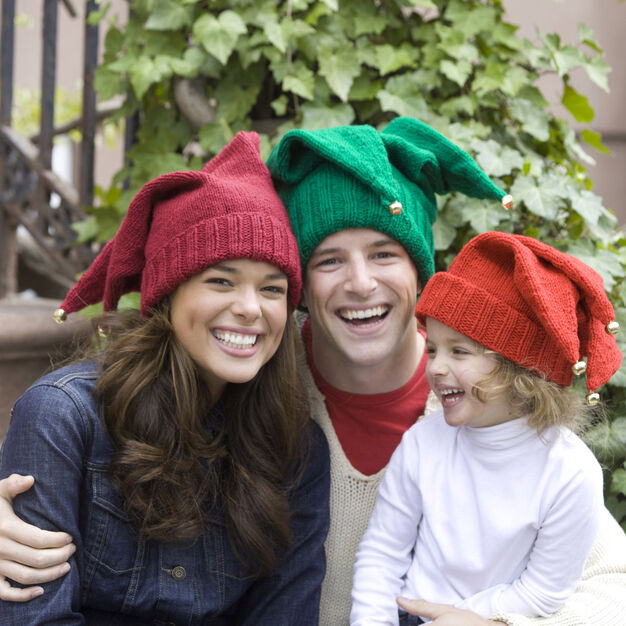 Red Heart Jingle Bells Family Hats, Child in color