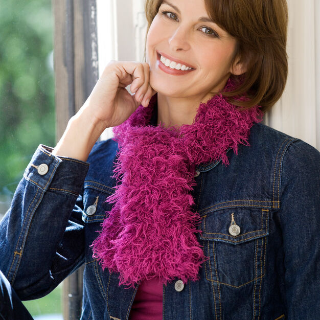 Red Heart One-Ball Furry Scarf in color