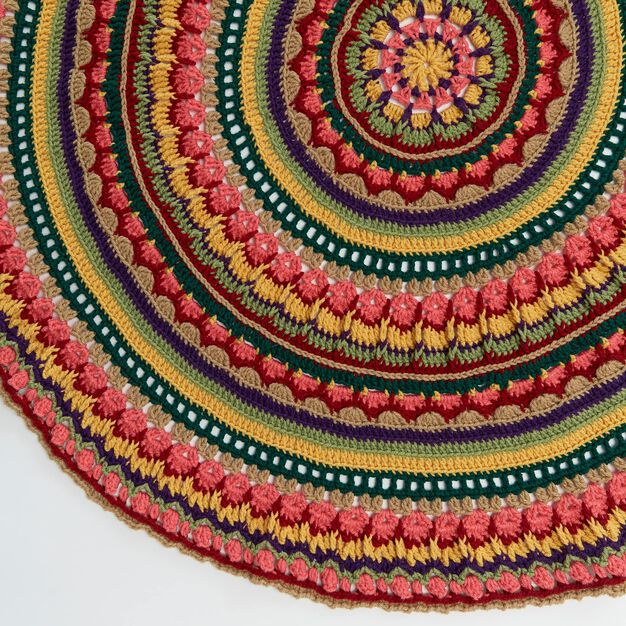 Red Heart Circular Fall Mandala Throw in color