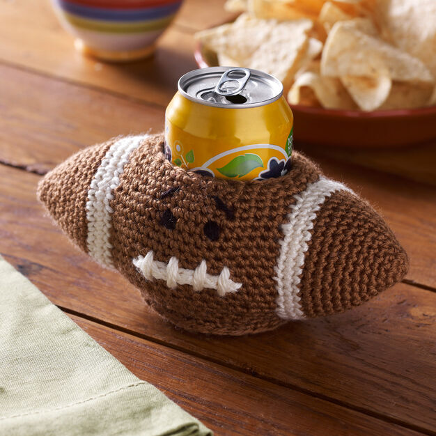 Red Heart Football Can Cozy