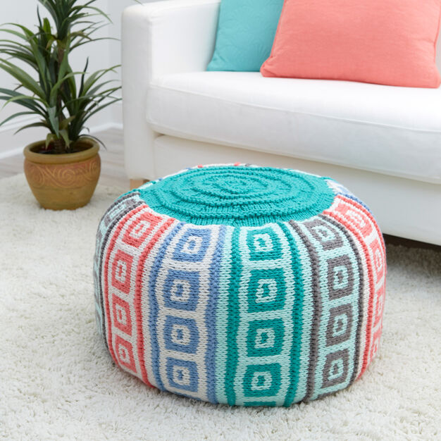 knit pouf pattern using mosaic stitch pattern from Yarnspirations.com