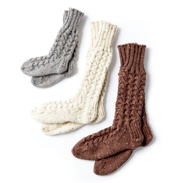 Free Pattern: Cozy Knit Cabin Socks in Caron Simply Soft Tweeds yarn