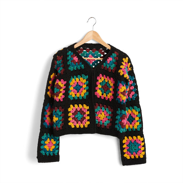 Red Heart Granny Square Jacket, XS/S in color  Large Main Image 1