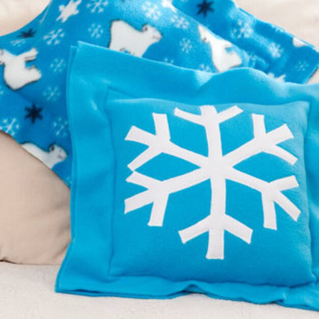 Dual Duty Snowflake Fleece Pillow in color