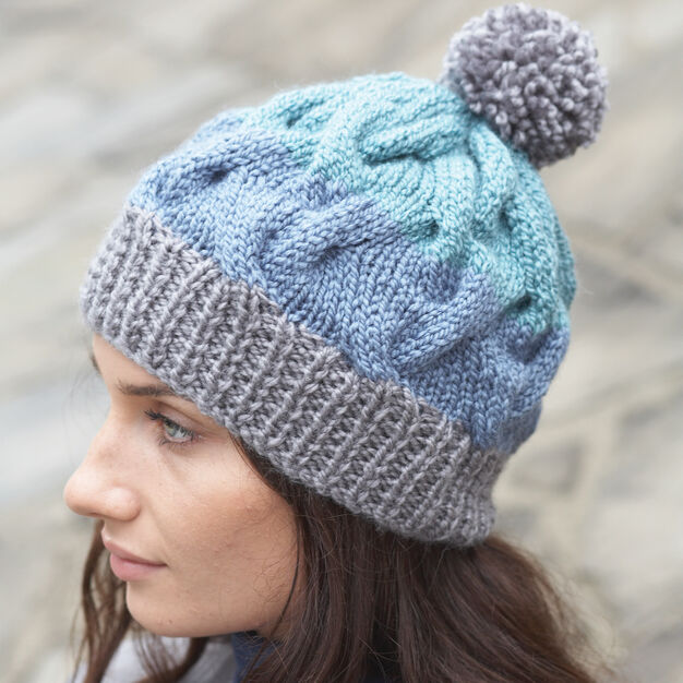 Patons Striped Cable Hat Yarnspirations