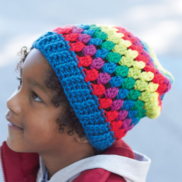 Caron Rainbow Granny Stripes Hat, 2/4 years in color