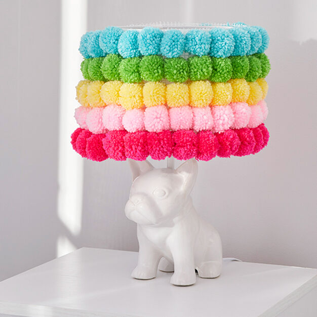 Red Heart Pompom Rainbow Lampshade