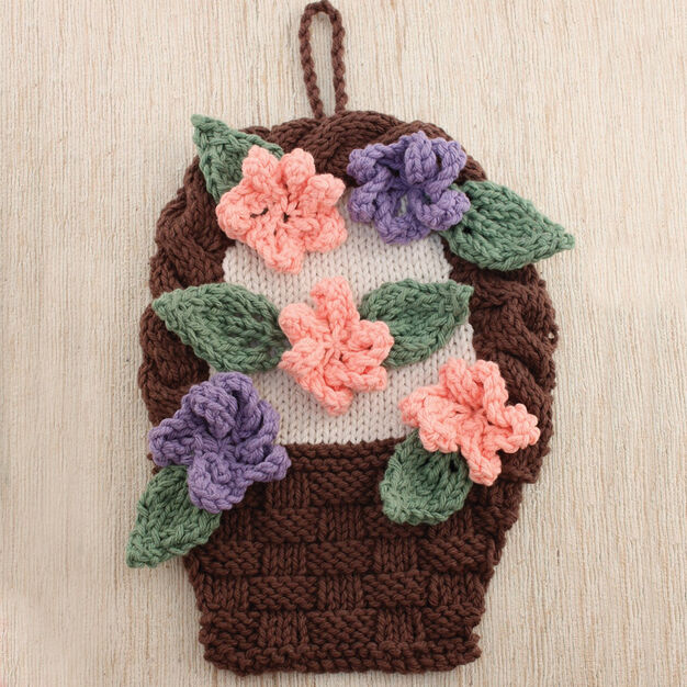 Lily Sugar'n Cream Flower Basket Dishcloth