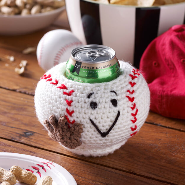 Red Heart Baseball Can Cozy in color