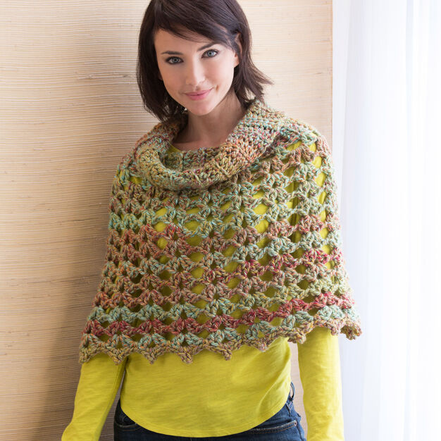 Red Heart Chic Cowl Neck Poncho, S/M in color