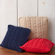 Bernat Cable Knit Trio Pillows, Red