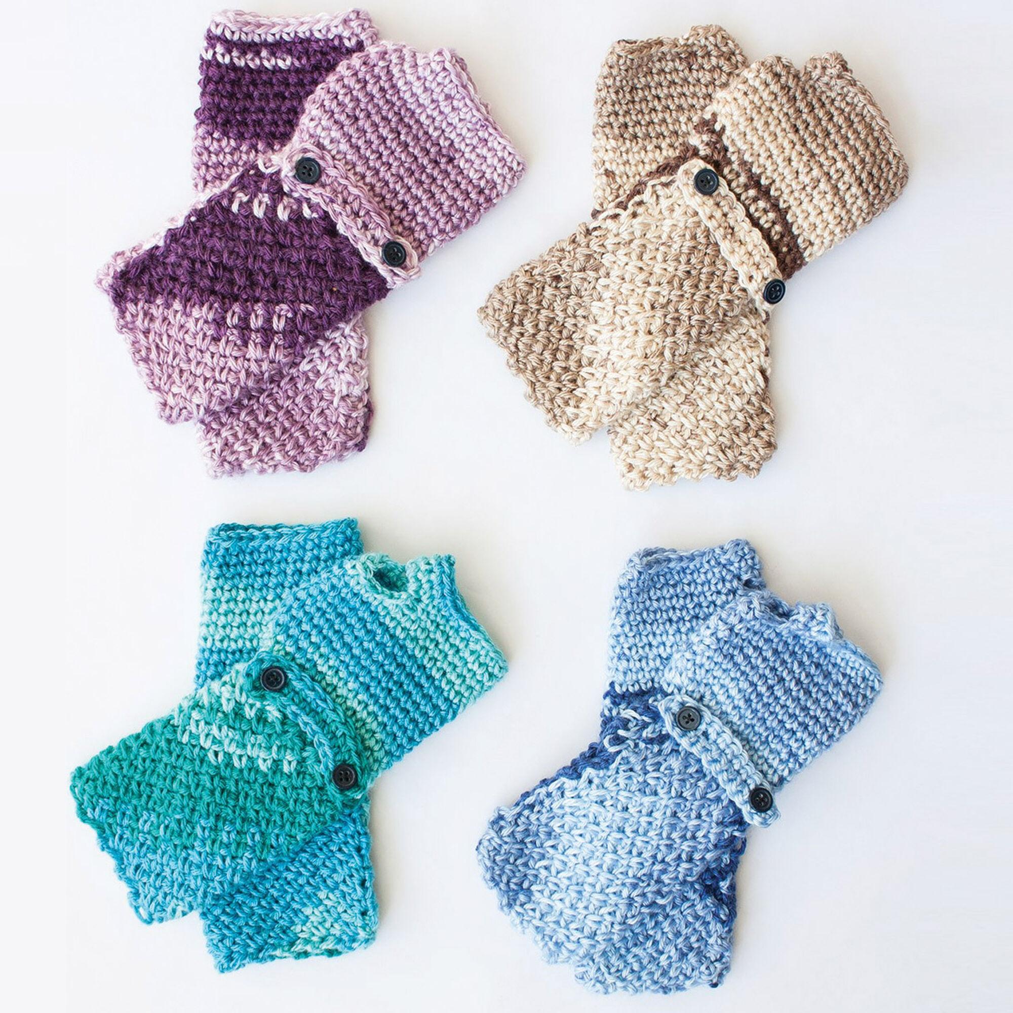 Caron Cozy Posy Fingerless Gloves, Saturday Blue Jeans   Yarnspirations