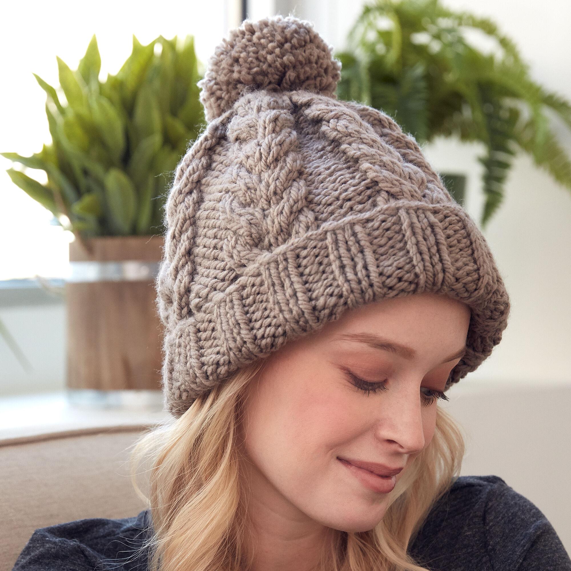 Bernat Cozy Cable Knit Hat Pattern | Yarnspirations