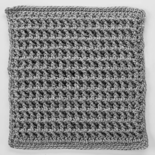 Red Heart Front Post Double Crochet Square for Checkerboard Textures Throw in color