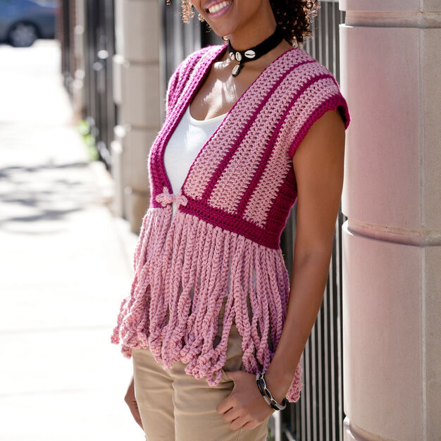 Red Heart Calypso Cardigan, S in color