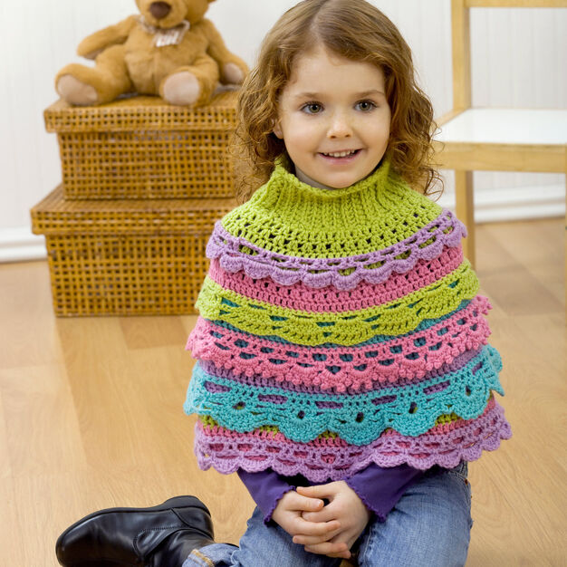 Red Heart Girl's Ruffle Capelet, S in color