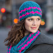 Red Heart Cross-hatched Cowl & Beanie