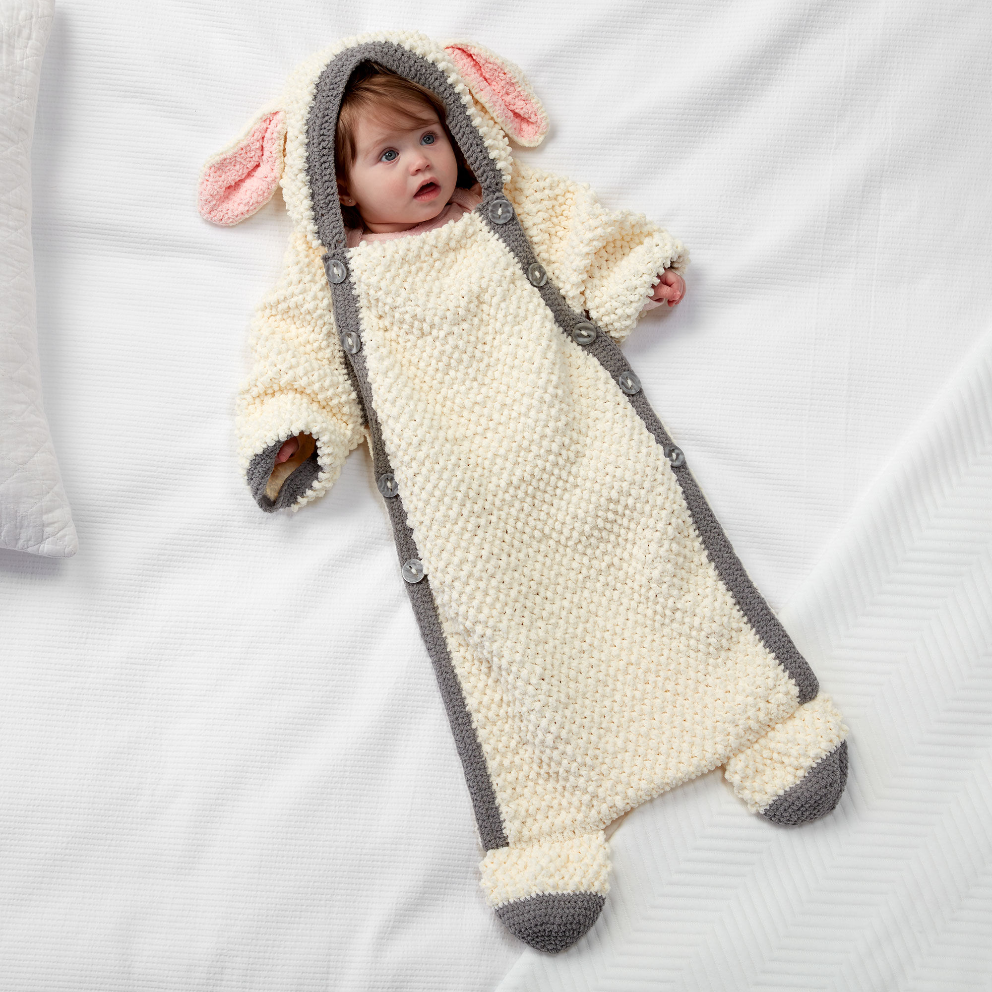 Easy Yawn the Sheep Crochet Snuggle Sack