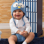 Red Heart Cutie Blue Bird Hat & Diaper Cover, 3 mos