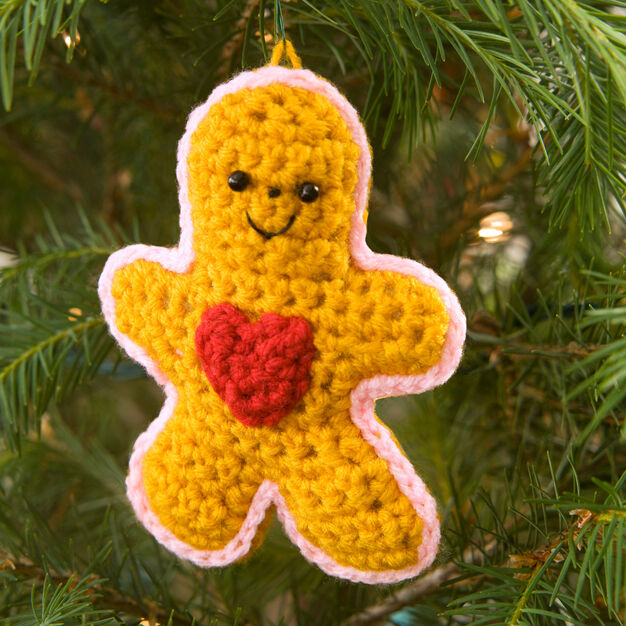 Red Heart Gingerbread Boy with Heart Ornament in color