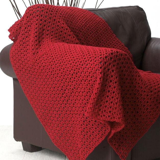 Bernat Red Blanket in color
