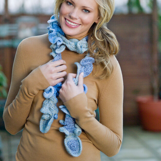 Red Heart Frothy Scarf in color