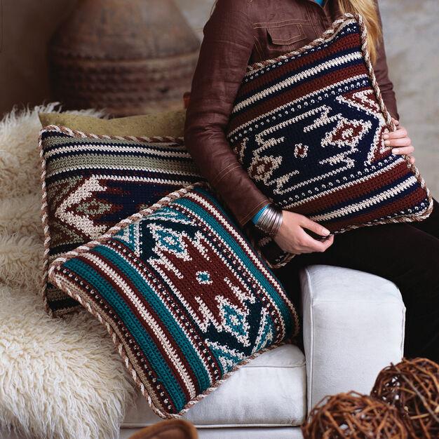 Red Heart Desert Pillows in color