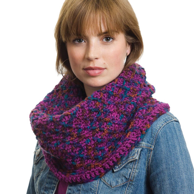 Caron Criss Cross Cowl in color