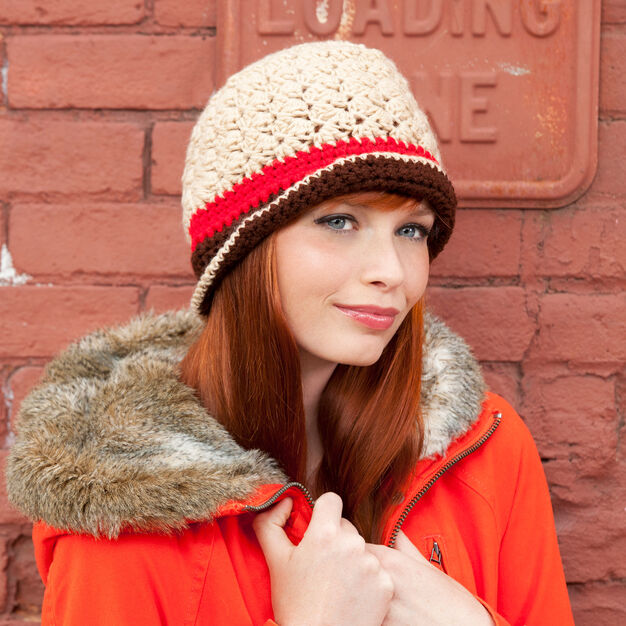 Red Heart Three Tone Hat in color