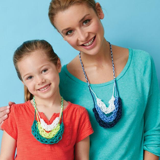 Caron Finger Knitting Necklace, Version 1