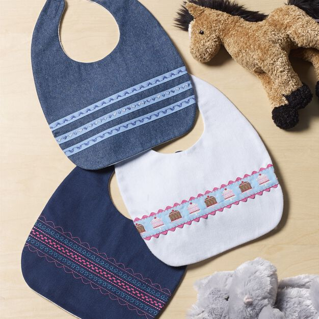 Coats & Clark Baby Bib Trio in color
