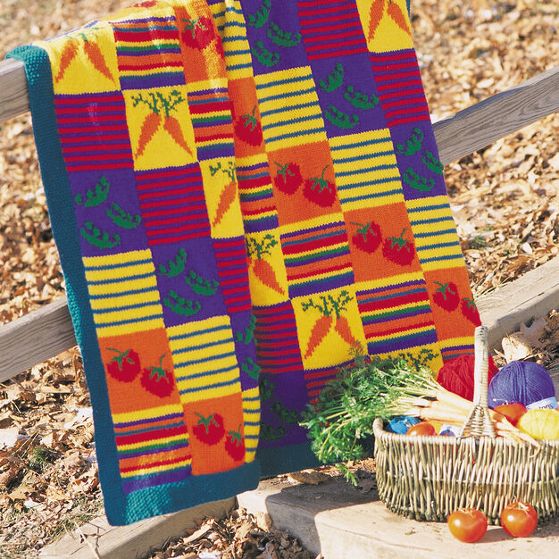 Patons Veggies and Stripes Blanket in color