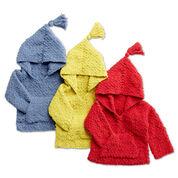 Bernat Crochet Kangaroo Hoodie, Red - 6 mos.
