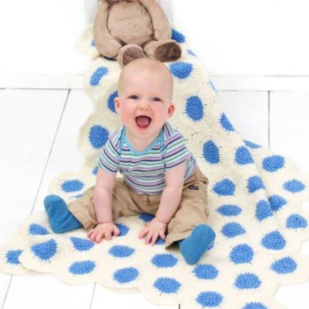 Red Heart Polka-Dot Baby Blanket in color