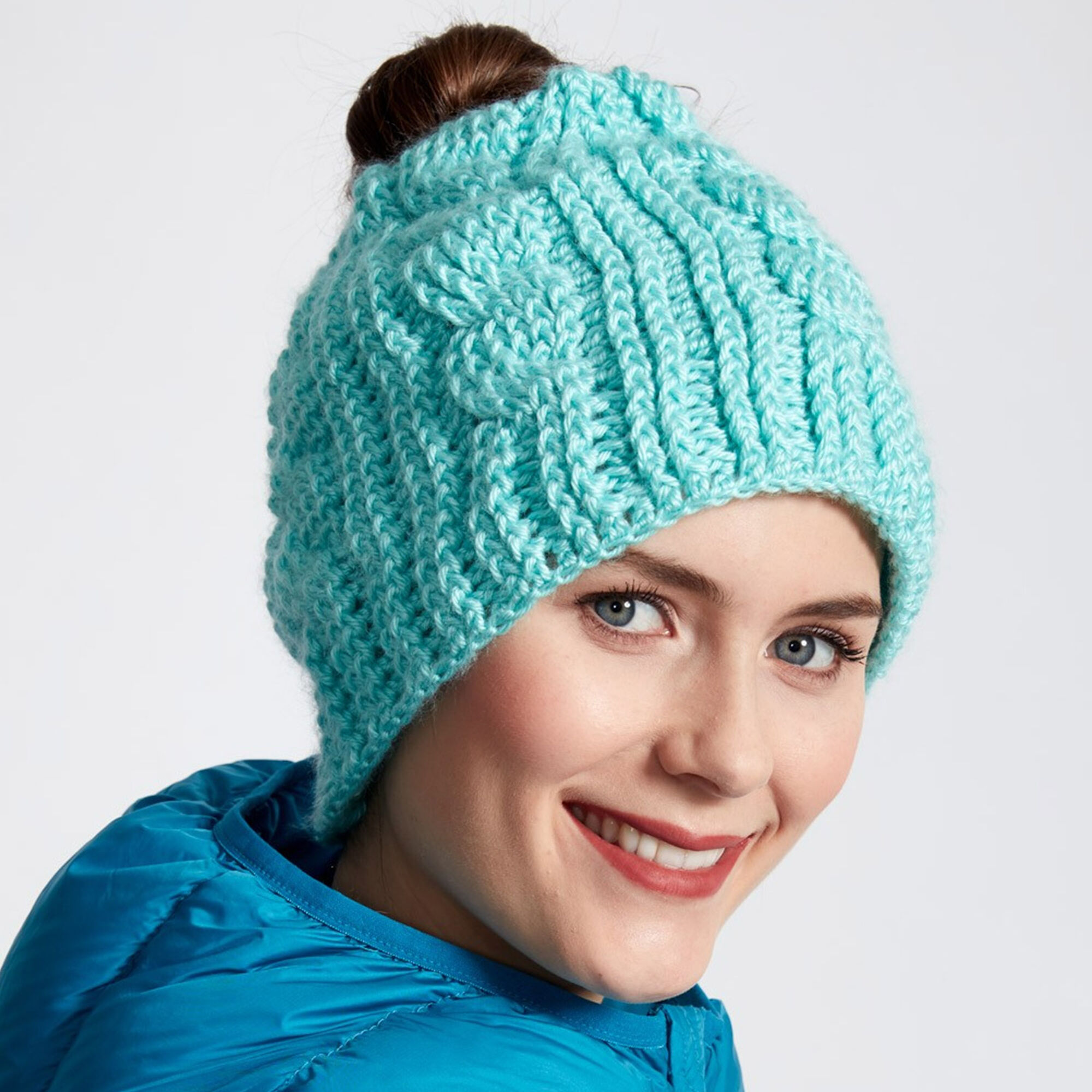 ... Caron Twist Stitch Messy Bun Crochet Hat cf650c5f515f