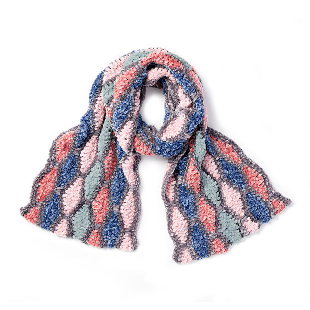Diamond Wave Crochet Scarf in color