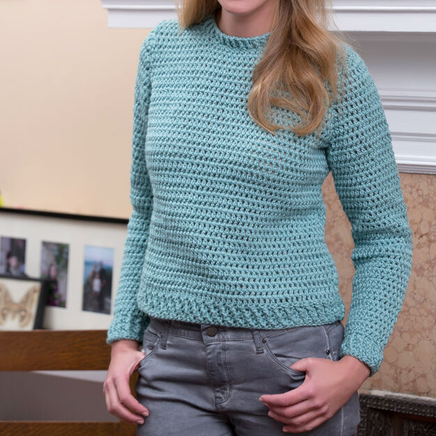 Red Heart Crochet Crew Sweater, S in color