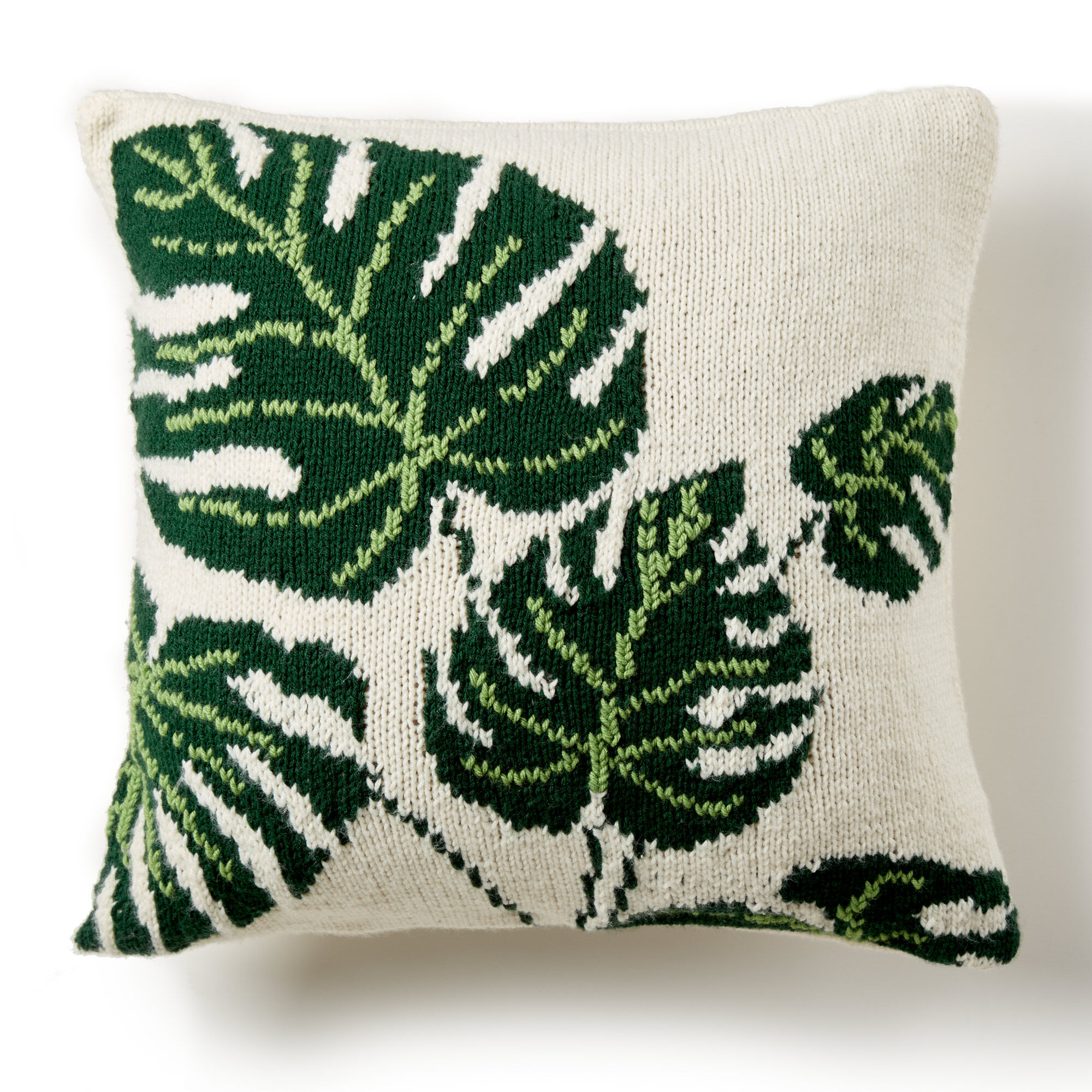 Bernat Tropical Leaf Knit Pillow Pattern | Yarnspirations