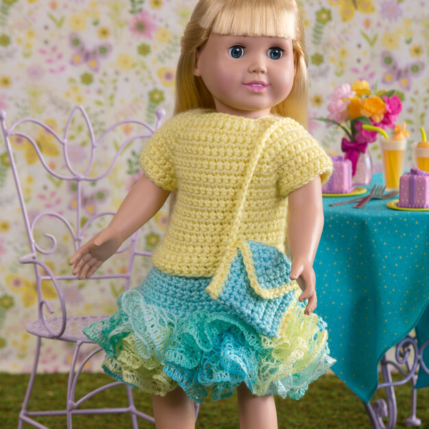 Red Heart Summertime Frills for Dolls in color