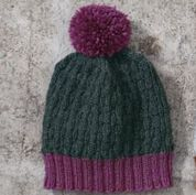 Go to Product: Red Heart Textured Beanie, Man - Forest/Raspberry in color