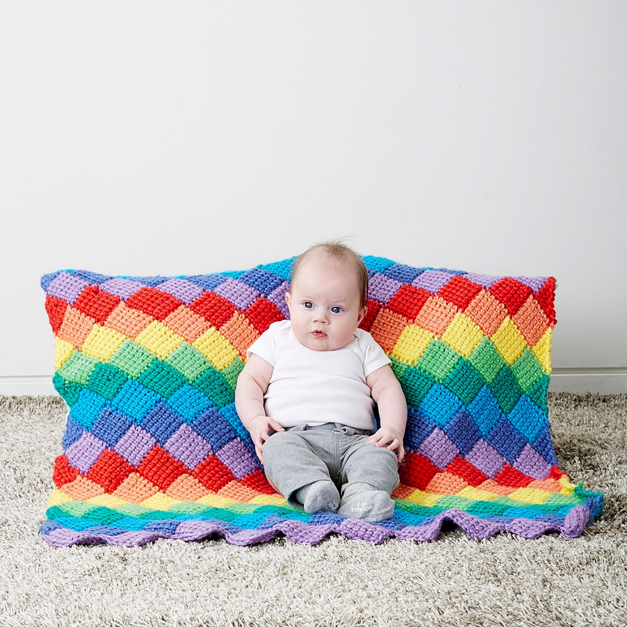 Bernat Tunisian Entrelac Baby Blanket | Yarnspirations