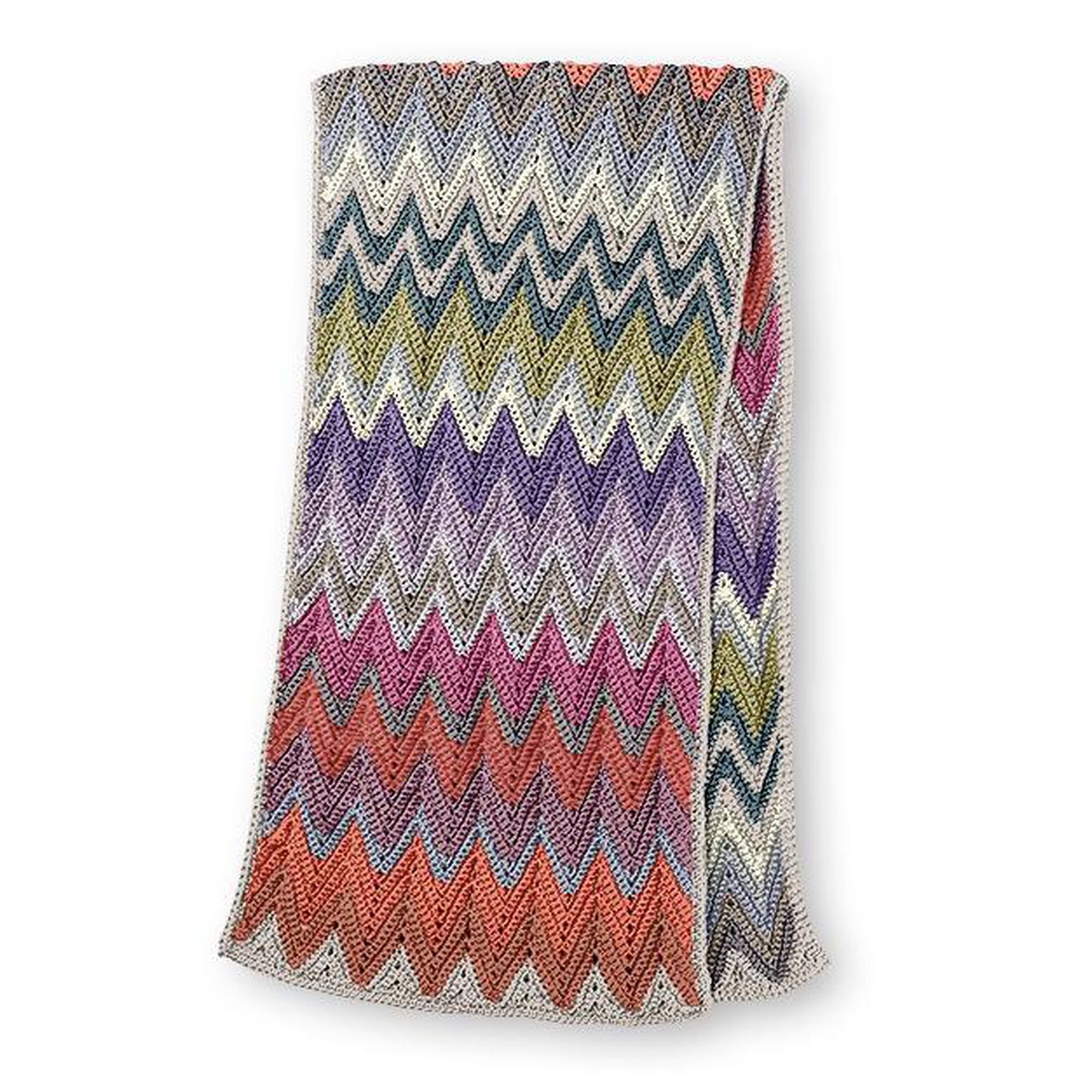 Caron X Pantone Crochet Zig Zag Rectangular Shawl Pattern