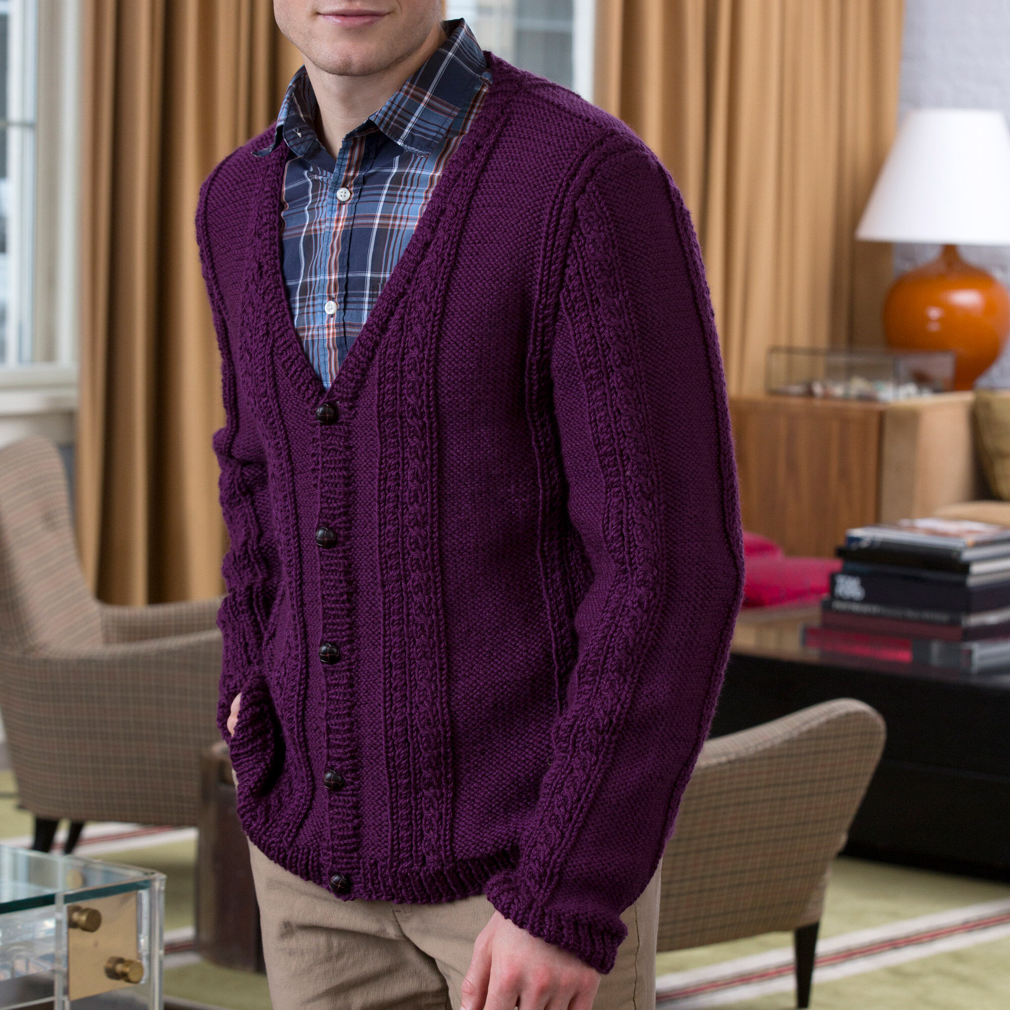 Red Heart Men's V Neck Cable Cardigan | Yarnspirations