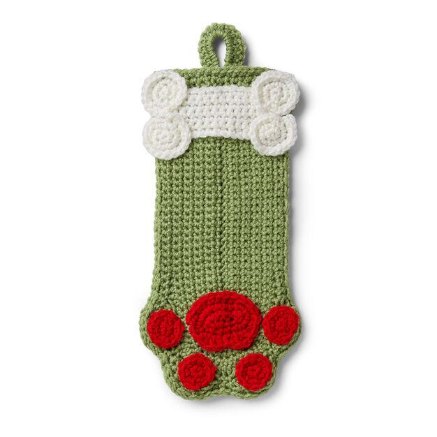 Crochet Christmas Stocking Pattern.Red Heart Dog Paws Christmas Stocking Yarnspirations