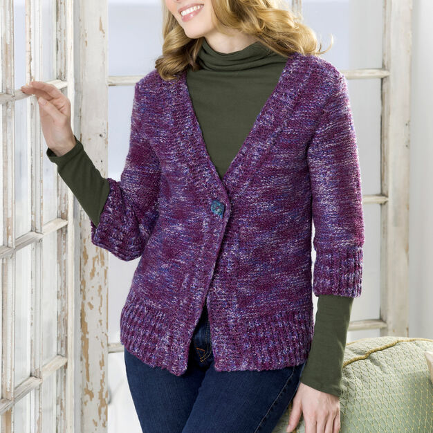Red Heart Moment's Notice Cardigan, S in color