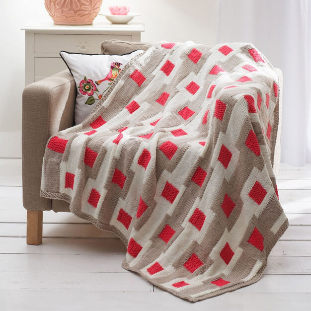 Bernat Graphic Gridwork Afghan and Pillow, Pillow in color